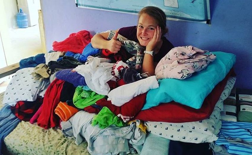 Can you spot the Fondblancfoundation intern under this sea of donations? Sheetsfordays