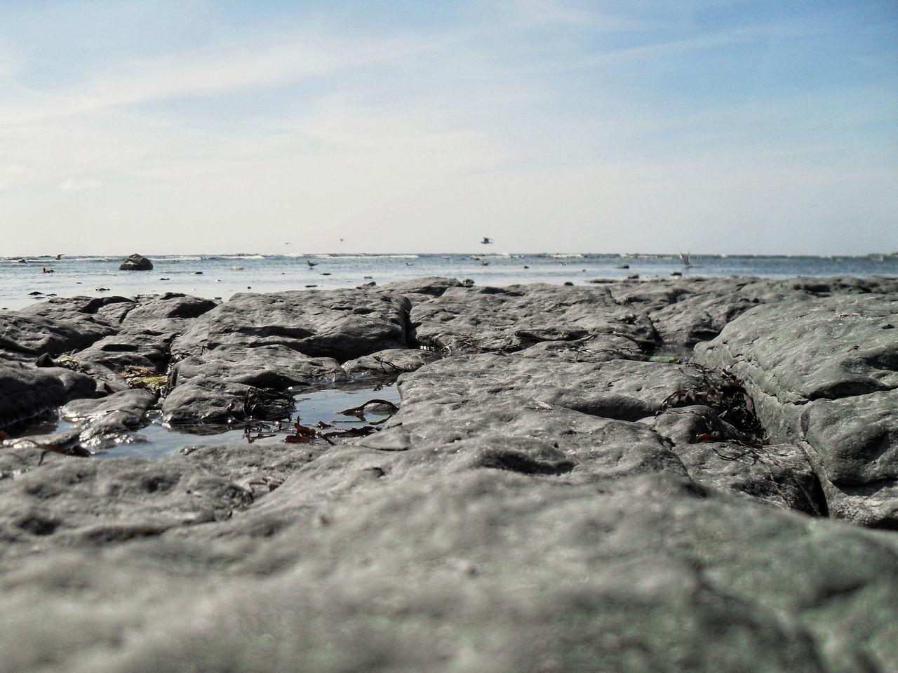 Rocky beach against sky