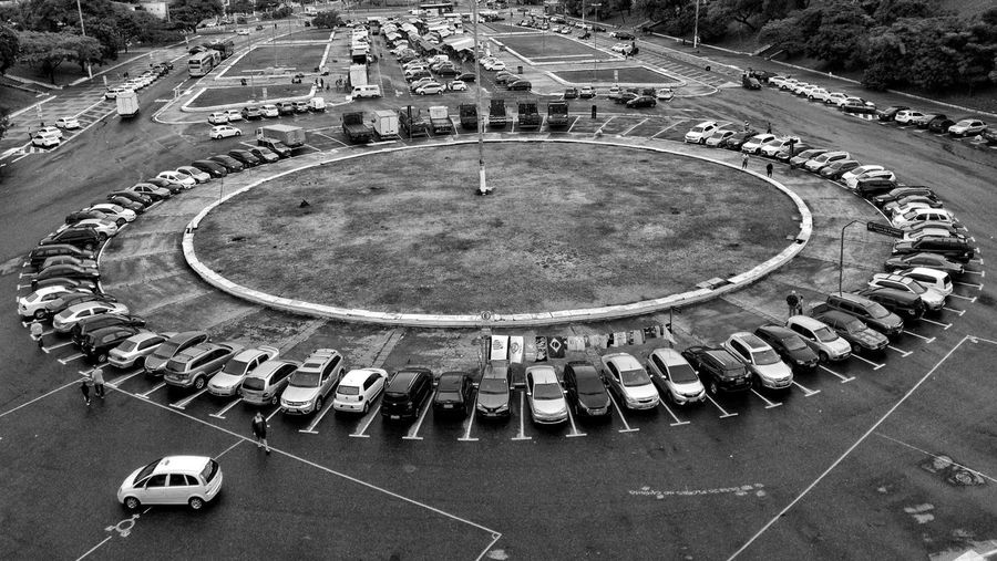 Black And White Street Cars Parking Parking Lot Crowd City Stadium High Angle View Architecture Traffic Circle
