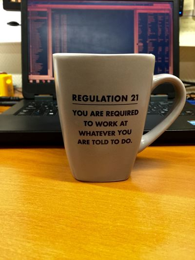 Working Working Hard Work Mug Rules Regulations Rules And Regulations Laptop Desk Boss