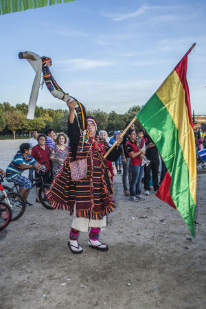 Adult Adults Only Bolivia Bolivian Celebration Cultures Day Human Body Part Kilt Men Music Musical Instrument Musician Only Men Outdoors People Performance Real People Saxophone Sky Traditional Clothing