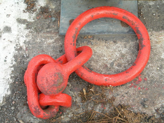 No People Shape High Angle View Day Close-up Red Outdoors Port Buckie,Moray,Scotland Mooring Ring