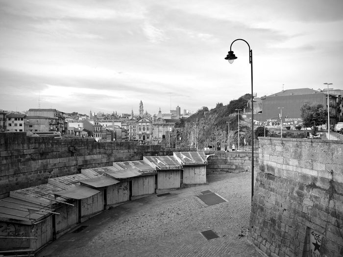 BeW City Cityscape Oporto, Portugal Architecture Black And White Building Building Exterior Built Structure City Cityscape Cloud - Sky Day High Angle View Lighting Equipment Monochrome Nature No People Outdoors Residential District Sky Street Street Light Town Water