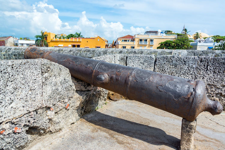 Old rusty cannon at historic fort