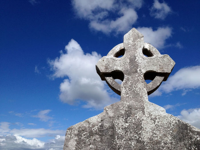 Low Angle View Of Celtic Cross Against Sky