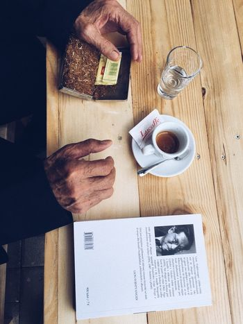 Grandpa Table Food And Drink High Angle View Drink Real People Cup Food Coffee - Drink Mug Coffee Cup Freshness Day Refreshment Indoors  Hand Coffee Sweet Food Directly Above One Person Crockery