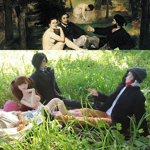 "Throwback (or ""Rehash "") of our previously posted homage to Edouardmanet 's ""Le Déjeuner sur l'herbe"" (""Luncheon in the grass""), because the first time it didn't get nearly enough likes, and it's a great pic, dammit! So tap away, damn you... *************** Doll Dolls Dollstagram DollPhotography Dollphotogallery Toys Toy Toyphotogallery Toyphotography Toycrewbuddies Toyplanet Toygroup_alliance Toys4life Ata_dreadnoughts Art Culture Manet Integritytoys Universalpooyan Toyhumor"