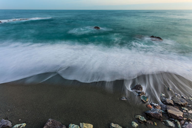 Seaside Beach Beauty In Nature Flower Galeno Genova Horizon Over Water Italy Massimo Galeno Motion Nature No People Outdoors Power In Nature Scenics Sea Sky Water Wave