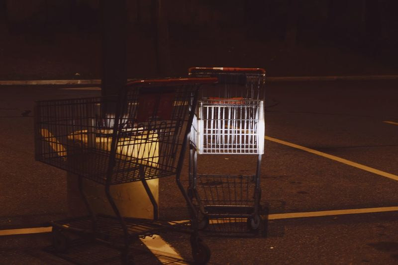 Shopping carts illuminated by headlights