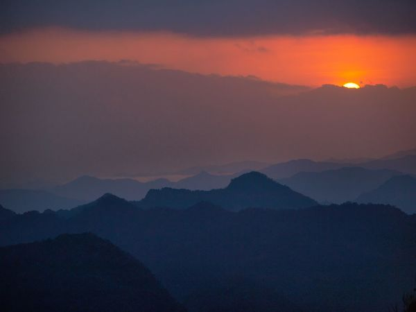 First light of dawn over Shuangxi, New Taipei, Taiwan New Taipei, Taiwan Beauty In Nature Dawn Day First Light Fog Landscape Mountain Mountain Range Nature No People Outdoors Scenics Silhouette Sky Sunset Tranquil Scene Tranquility