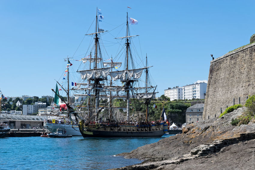 L'Hermione Blue Boat Brest Brest 2016 Brest2016 Castle Castle Walls Clear Sky Fêtes Maritimes Harbor Mast Mode Of Transport Nautical Vessel Rippled Sailboat Sailing Ship Ship Sky Water