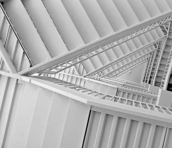Architectural Column Architectural Feature Architecture Built Structure Ceiling Color Pallete Day Design Diminishing Perspective Directly Below Empty Low Angle View Modern No People Repetition Stairs The Way Forward Vanishing Point