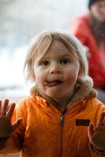 Portrait of cute girl in winter