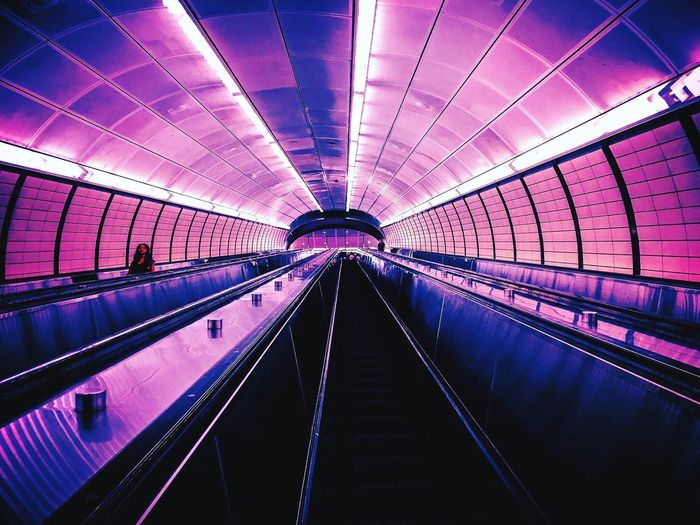 Illuminated Indoors  Technology Futuristic Architecture Convenience Transportation Purple Modern Built Structure No People Day Neon Life New York City Vaporwave Cyberpunk Subway Subway Station