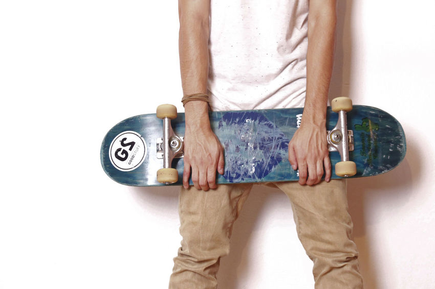 The Color Of Sport Standing Studio Shot White Background Person Holding Person T-shirt Man Made Object Skateboard Headless Men