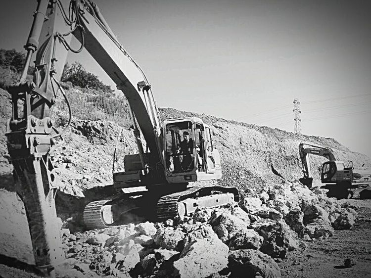 Black & White Tracked Excavator