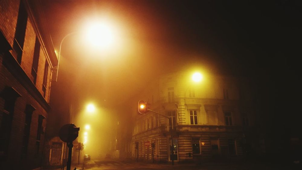 Night Illuminated Built Structure Outdoors Foggy Evening Cold Temperature These Streets Back Home ♥ Łódź Poland Street Life Street Photography Street Light Photography Beautiful Nature Mysterious