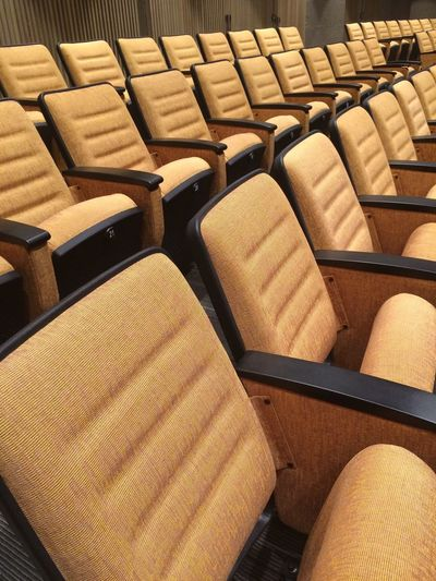 Seminar Room Empty Yellow Chairs Study Lecture Many Theater New Learn