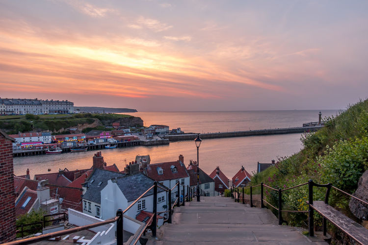 Whitby Whitby Harbour Whitby View Whitby North Yorkshire North Yorkshire North Yorkshire Coast Seaside Seaside Town Coastal Horizon Horizon Over Water Scenics - Nature High Angle View The Way Forward Beauty In Nature No People Outdoors Building Water Sky Sea Architecture Built Structure Sunset Cloud - Sky