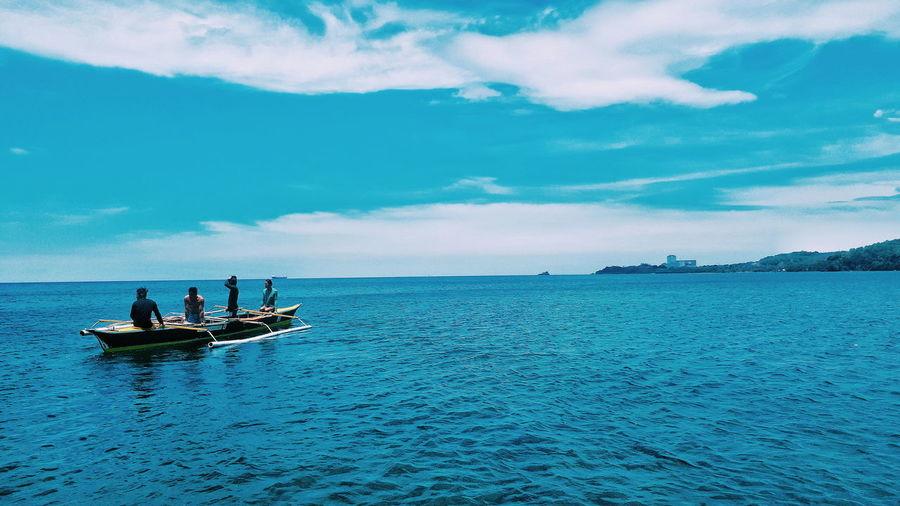 P. Shermen Fishermen Nautical Vessel Water Transportation Mode Of Transportation Sky Sea Cloud - Sky Travel Blue