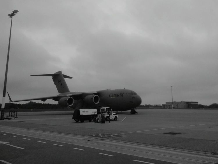 Day Outdoors Airport Workplace Poznań Poland No People Ławica Blackandwhite Black And White Airplane Air Vehicle Aircraft Plane Plane Porn Plane Spotting Aviation C17 Globemaster