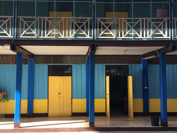 View of blue entrance of building