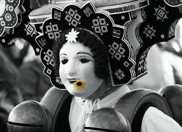 "Time to say ""Goodbye"" to the Old Year Appenzell Appenzellerland Close-up Decoration Happy New Year Masked Person Masks New Year's Eve Old Customs Old Year Olympus OM-D E-M1 Mark II Pagan Customs Saint Sylvester Schöne Selective Color SilvesterChlausen Silvesterklaus Switzerland Teufen Tourism Tourist Attraction  Tradition Traditional Costume Yellow Yellow Flower"