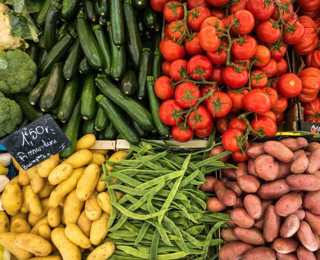 Vegetables Tomatoes Green Beans Potatoes Vegetable Market Abundance Retail  Food And Drink Large Group Of Objects Healthy Eating Variation Food Market Stall For Sale Freshness Choice Raw Food Green Color Red Outdoors No People