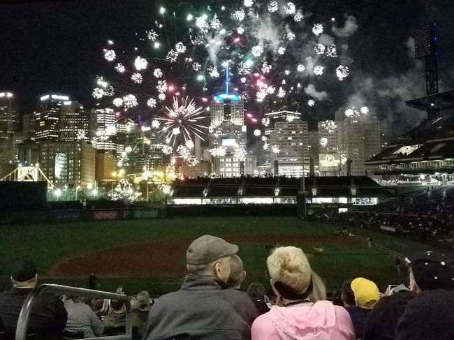 Illuminated City Outdoors Sky Cityscape Real People Night Togetherness Pennsylvania Fireworks Exploding Multi Colored Pittsburgh PNC Park Baseball Stadium Spectators Large Group Of People People