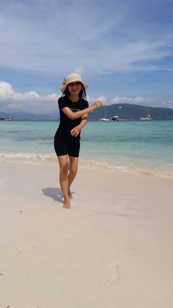 Water Full Length Sea Beach Smiling Portrait Sand Happiness Summer Enjoyment Beach Holiday Wave