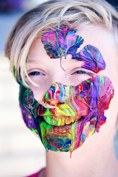 Fun Happy Happy People Blond Hair Boys Carefree Child Childhood Close-up Face Paint Girls Hair Holi Human Face Lifestyles Multi Colored One Person Paint Portrait Real People Smile