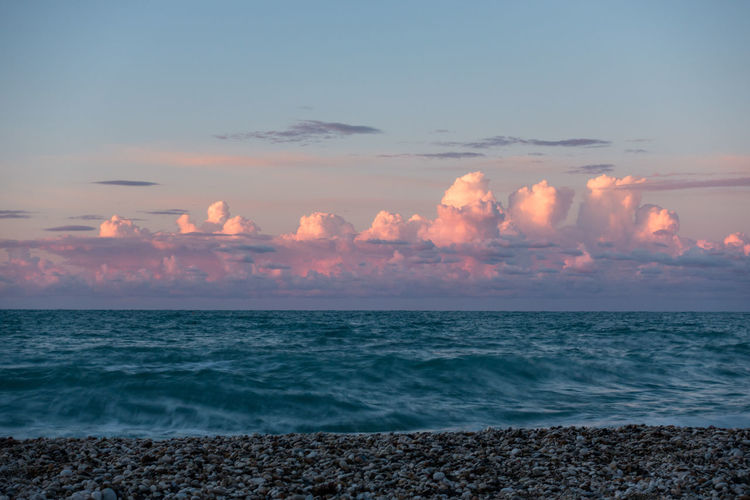 Beach Beauty In Nature Cloud - Sky Horizon Over Water Mezzavalle Outdoors Sea Sky Sunset Tranquility Tunder Wave