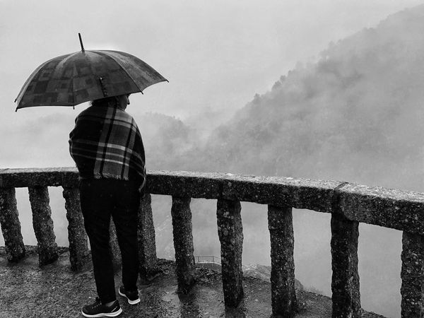 Blackandwhite Scenic View One Person Outdoors Misty Morning
