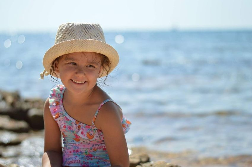 EyeEm Selects Beach Summer Girls Child Sea One Girl Only Smiling Portrait Children Only Fun Water Happiness Outdoors