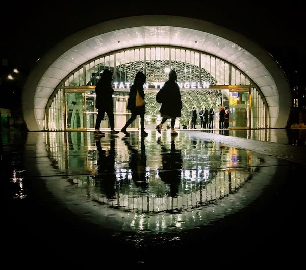 Triangeln by night. Train Station Nightphotography Railwaystation Reflection Silhouette Real People Walking Arch Architecture Built Structure The Graphic City