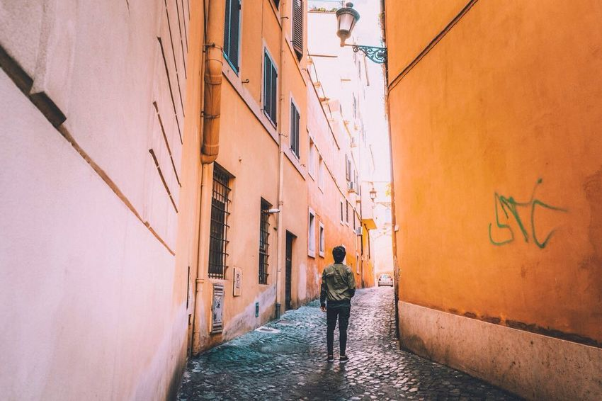 Rome Rome Italy Architecture Orange Color Standing Road City Houses Italy Landscape