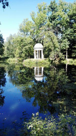 Lützschena Schlosspark Lützschena Leipzig Wasserspiegelung Dianatempel Denkmal Park Leipziger Auwald Lake Water Reflection Monument Shore Trees