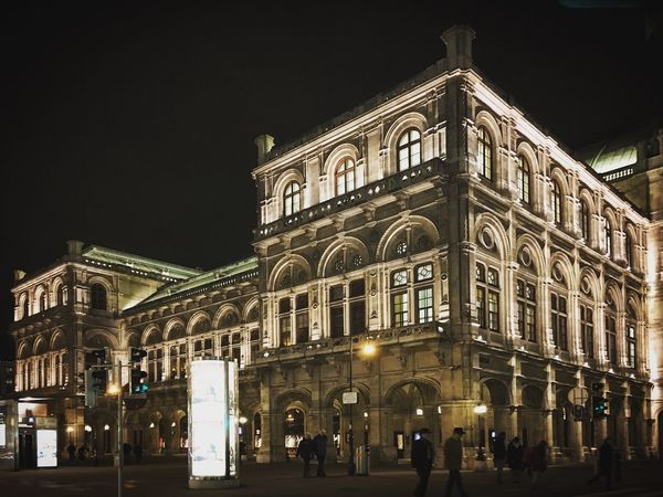 The Opera House, Vienna. Architecture Architecture Art Austria Building Building Exterior Built Structure City City Life City Street Culture Façade Illuminated Incidental People Low Angle View Night Night Lights Nightphotography Opéra Outdoors Road Street Street Light Travel Destinations Vienna