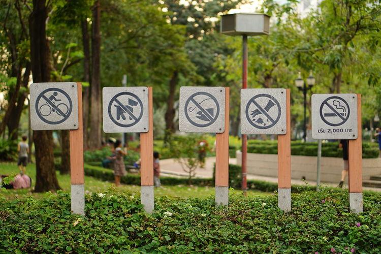 Information signs on grassy field