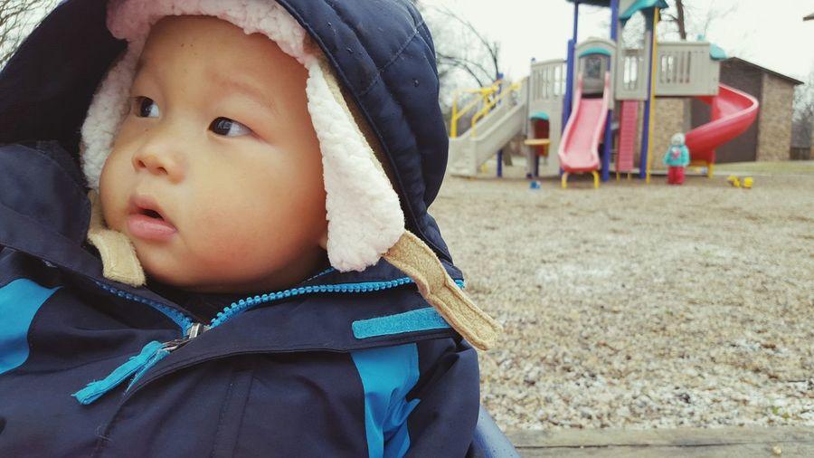 Close-up of boy at playground