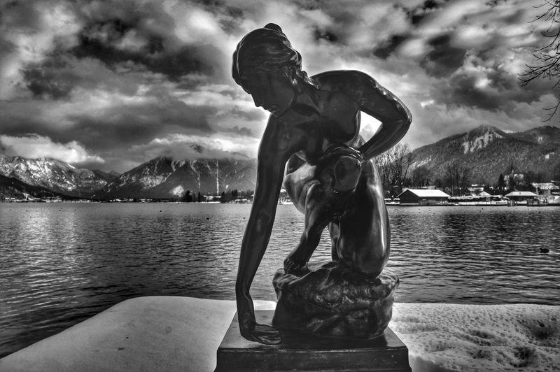 Blackandwhite Water Reflections Figure