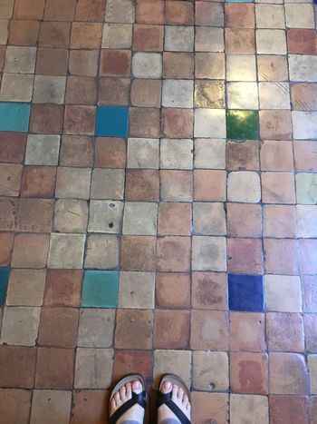 Decoration Personal Perspective Standing Multi Colored Tiled Floor Ancient Floor Medieval Architecture Indoors  Pattern Flooring Close-up