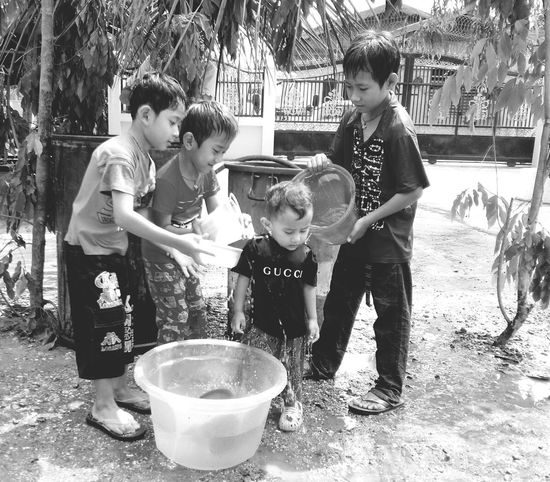 Thingyan Water Festival Kid Enjoying Life Black And White