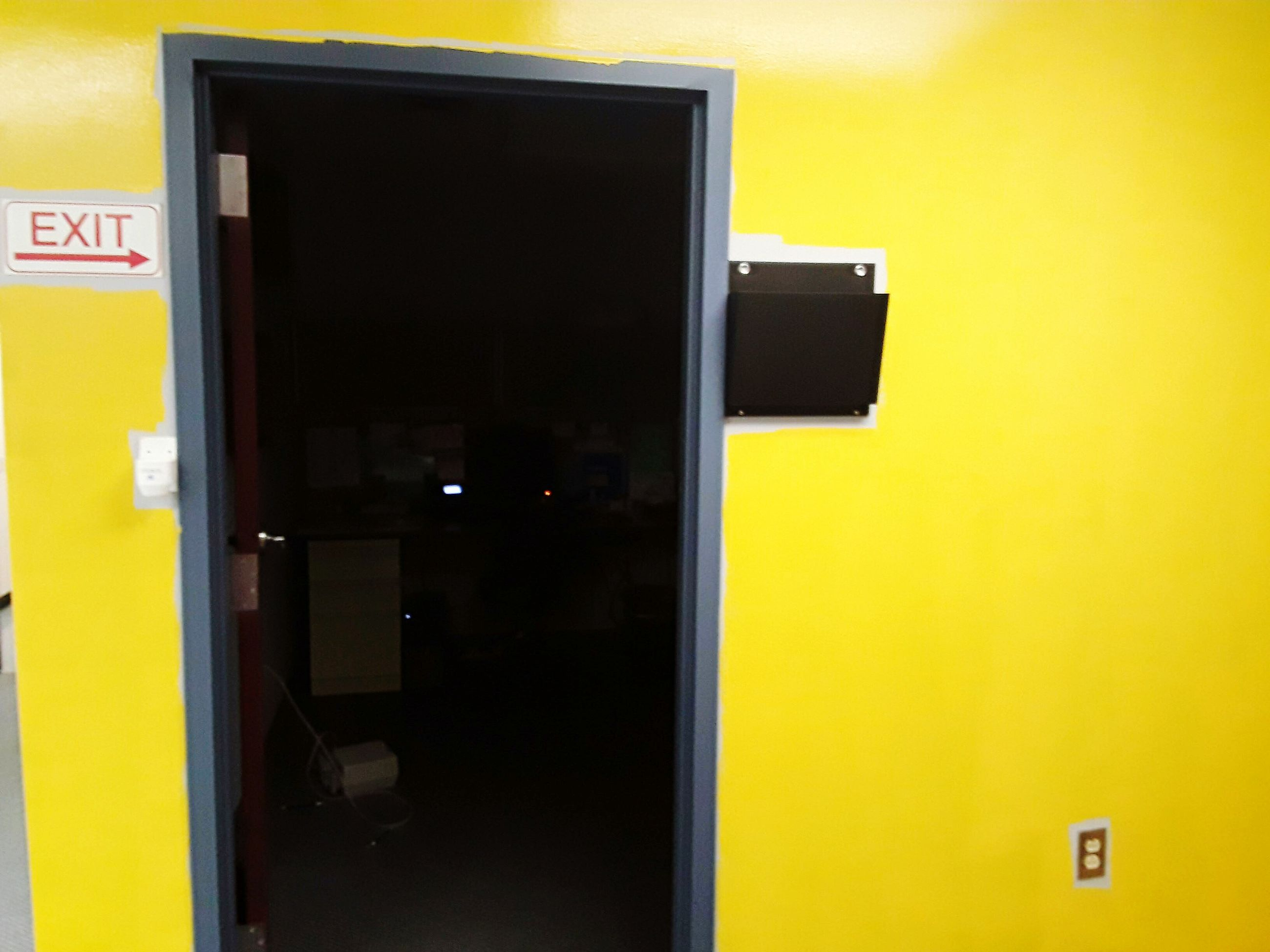 yellow, door, communication, built structure, no people, architecture, indoors, day