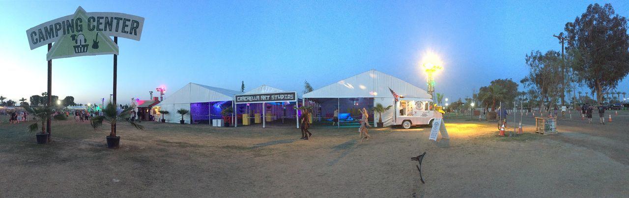 Coachella Camping Camp Camping Center Tent Festival Sunset Panorama Panoramic