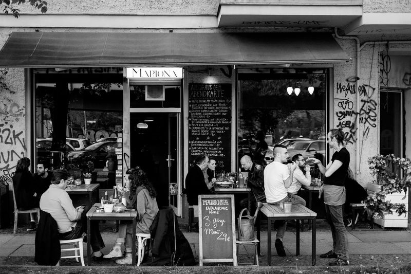 Bar Cafe City City Life Culture Drinking Eating Germany Leisure Activity Lifestyles Monochrome Outdoors People Socializing Store Street Street Life Street Photography Streetphoto_bw Streetphotography