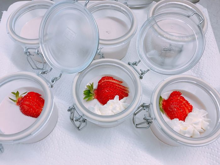Jars with whipped cream and strawberries Strawberry Fruit Red Food Food And Drink Yogurt Freshness Milk Dessert No People Sweet Food Indoors  Close-up Day Unhealthy Eating Strawberries Whipped Cream Fresh Sweet Sweet Foods Cream Jars  Desserts Delicious