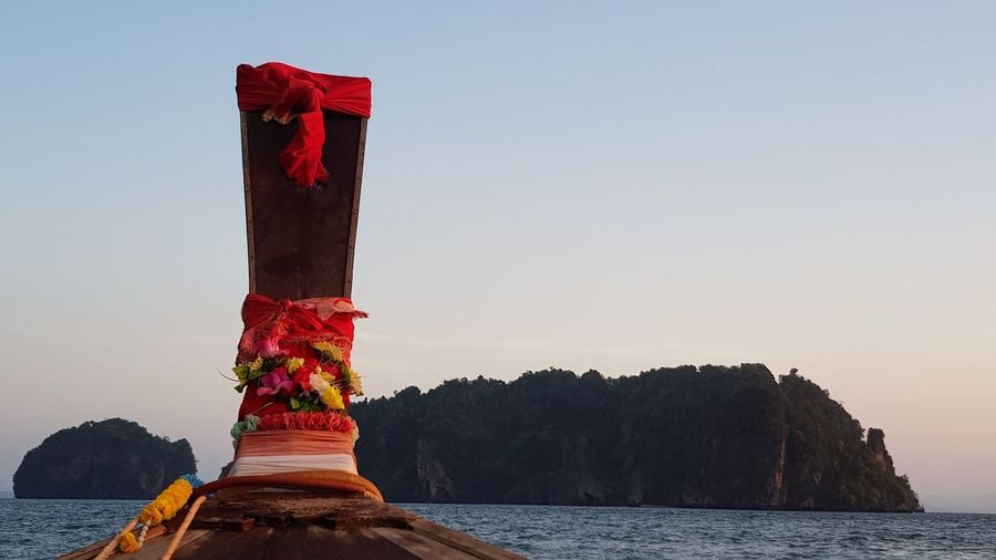 Long Tail Boat Prow Dawn Early Morning Sky Kho Yao Noi Long Tail Boat Colourful Boat Escape From Reality Paradise Island Tropical Paradise Tropical Island Beach Nature Natural Living Tropical Climate Holiday Memories Peace Boat EyeEm Selects Water Nautical Vessel Sky