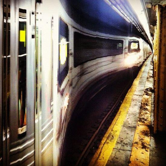 R train pulling in #subway #slitscan Subway Slitscan