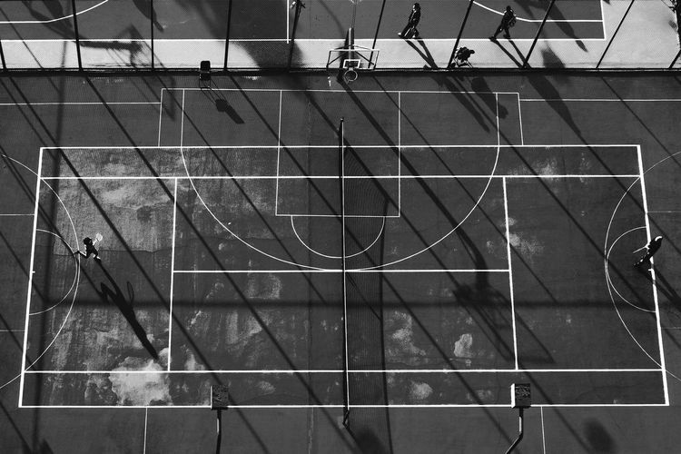 Aerial view of playing court